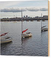 Line Of Boats On The Charles River Wood Print