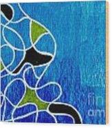 Linework Blue Wood Print