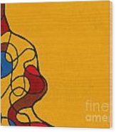 Linework Yellow Wood Print