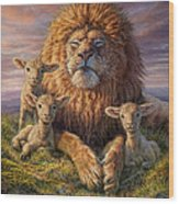 Lion And Lambs Wood Print