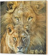Lion And Lioness- African Royalty Wood Print