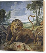 Lion And Three Wolves Wood Print