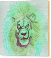 Lion Blue By Jrr Wood Print