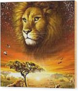 Lion Dawn Wood Print by Adrian Chesterman