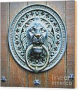 Lion Door Knocker In Norway Wood Print