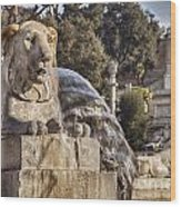 Lion Fountain In Rome Italy Wood Print