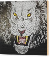 Lion In The Darkness Wood Print