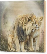Lion Kiss Wood Print