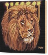 Lion Of Judah - Menorah Wood Print