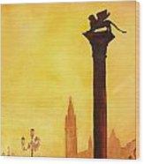 Lion Of San Marco Sunset Wood Print