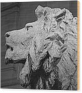Lion Of The Art Institute Chicago B W Wood Print