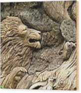 Lion On The Tree Of  Life Wood Print