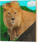 Lion Prowling Wood Print