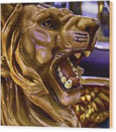 Lion Roaring Carrousel Ride Wood Print