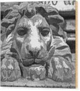 Lion Statue Guard Wood Print