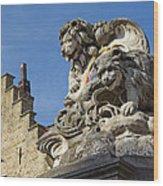 Lion Statue In Bruges Wood Print