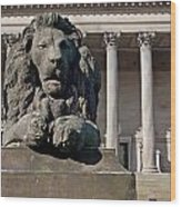 Lion Statue In Front Of St Georges Hall Liverpool Uk Wood Print