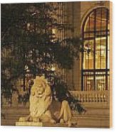 Lion Statue In New York City Wood Print
