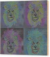 Lion X 4 Color  By Jrr Wood Print