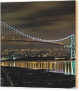 Lions Gate Bridge At Night Wood Print