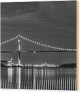 Lions Gate Bridge Black And White Wood Print