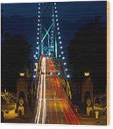 Lions Gate Bridge Traffic Wood Print by Michael Russell