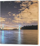 Lion's Gate Bridge Vancouver At Night Wood Print