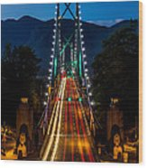 Lion's Gate Bridge Vancouver B.c Canada Wood Print