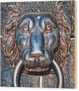 Lions Head Knocker Wood Print