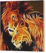 Lions In Love Wood Print by Pamela Johnson