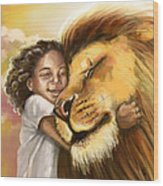 Lion's Kiss Wood Print by Tamer and Cindy Elsharouni