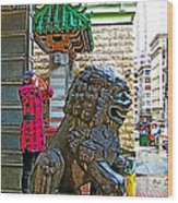 Lions Roar At Entry Gate To  Chinatown In San Francisco-california  Wood Print
