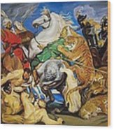 Lions Tigers And Leopard Hunt Homage To Rubens Wood Print