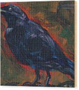 Lisa's Blackbird Wood Print