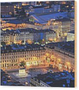 Lisbon At Night Portugal Wood Print