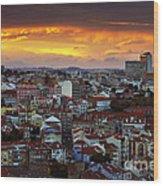 Lisbon At Sunset Wood Print by Carlos Caetano