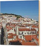 Lisbon Cityscape With Sao Jorge Castle And Cathedral Wood Print