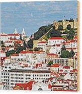 Lisbon Cityscape With Sao Jorge Castle Wood Print