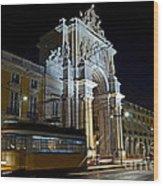 Lisbon - Portugal - Street Cars At Praca Do Comercio Or Terreiro Wood Print