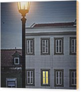 Lisbon Street Lamp Wood Print