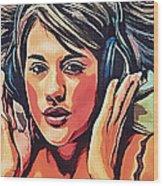 Listen To Music Wood Print