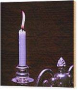 Lit Candle Wood Print