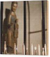 Lit Candles Wood Print