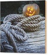 Lit Pumpkin Wood Print