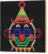 Lite Brite - The Classic Clown Wood Print