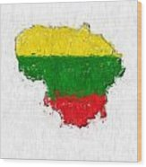 Lithuania Painted Flag Map Wood Print