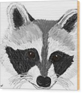 Little Bandit - Raccoon Wood Print by Elizabeth S Zulauf