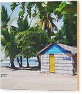 Little Beach Shack Under The Palms Wood Print