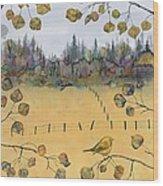 Little Bird And Fence Wood Print by Carolyn Doe
