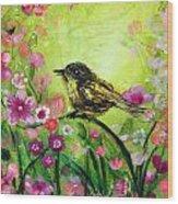 Little Bird In Green Wood Print